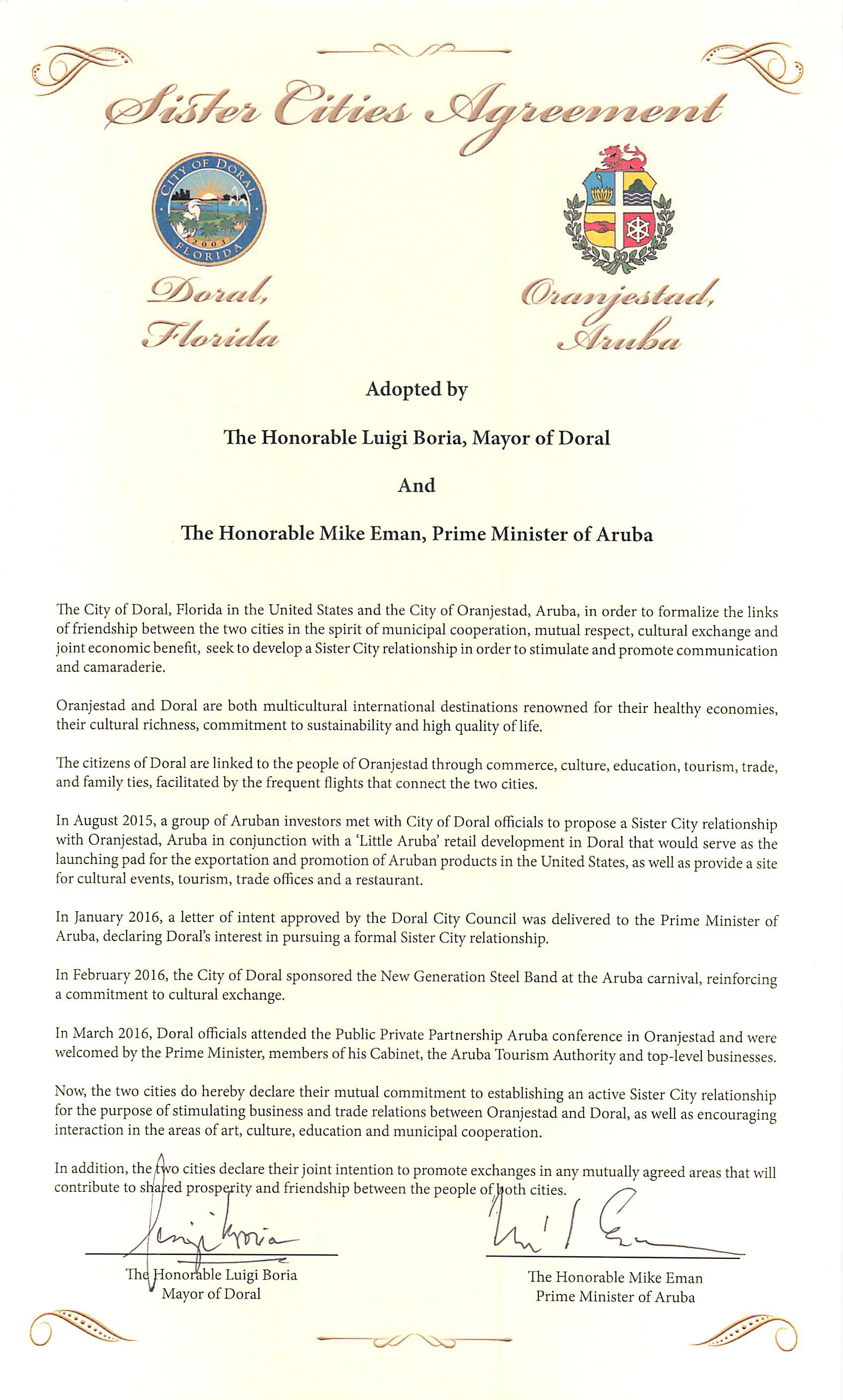 Aruba Doral Sisiter Cities Agreement